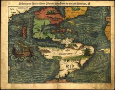 Beautiful map of the Americas was originally published in 1550 by famed German cartographer Sebastian Münster