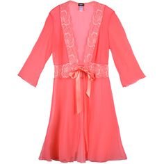 Cosabella Fetherston 3/4 Robe (390295701) ($149) ❤ liked on Polyvore featuring intimates, robes, shell pink, dressing gown, cosabella, sheer lace robe, sheer robe and pink robe