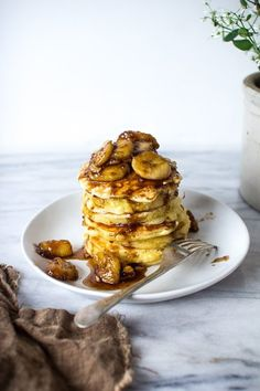 A Stack of Bananas Foster and Walnut Pancakes