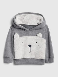 fa1023ea1 Gap Baby Sherpa Bear Hoodie Sweatshirt Heather Grey Pantalones Bebe