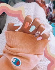 Acrylic Nails Coffin Short, Blue Acrylic Nails, Simple Acrylic Nails, Summer Acrylic Nails, Pastel Nails, Nailart Glitter, Teen Nails, Acylic Nails, Cute Acrylic Nail Designs