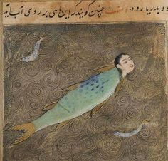 "demonagerie: ""Princeton University Library, Islamic Manuscripts, Garrett no. Qazwini, ʻAjāʾib al-makhlūqāt wa-gharāʾib al-mawjūdāt. ""The copy (or the text?) is dated Ṣafar 895 or 865 and signed ʻAbd Allāh son of ʻAlī Bey Damāvandī. Medieval Manuscript, Medieval Art, Illuminated Manuscript, Weird Creatures, Mythical Creatures, Sea Creatures, Nautique Vintage, Illustration Art, Illustrations"