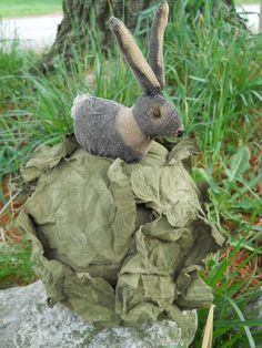 Primitive bunny on head of cabbage by ArtisticOriginals on Etsy, $32.00