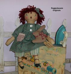 Primitive Raggedy Ann doll vintage cupboard Dear Olde Raggedy w Bunny rabbit #NaivePrimitive #RaggedysusieOriginals