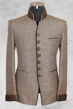 Light brown well dressed jute suit with bandhgala is part of Mens fashion wear - Indian Men Fashion, Mens Fashion Wear, Suit Fashion, Sharp Dressed Man, Well Dressed, Wedding Dress Men, African Clothing For Men, Designer Suits For Men, African Wear