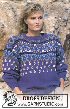 """DROPS jumper with pattern borders in """"Karisma Superwash"""". Ladies and men's sizes S – L. - Free pattern by DROPS Design"""