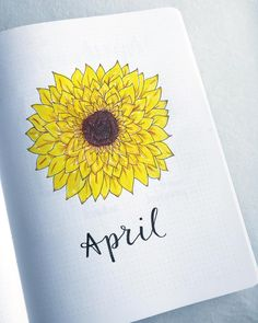 Bullet journal monthly cover page, April cover page, hand lettering, sunflower drawing. | @buujooo