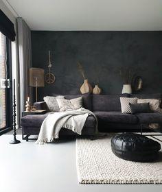 Charcoal Walls, Black Walls, Home Bedroom, Bedroom Decor, Living Room Furniture, Living Room Decor, Small Apartment Interior, Black Furniture, Living Room Lighting