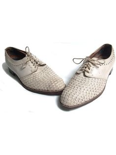 size 9.5 w  1950  woven leather shoes  white by lesclodettes, $79.00