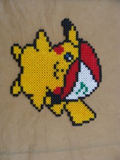 Pikachu Pokemon Cross Stitch, Cross Stitch Floss, Beaded Cross Stitch, Pokemon Perler Beads, Pearler Beads, Fuse Beads, Stitch Games, Art Perle, Pixel Beads