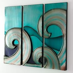 Looks cool but I would make from wood and paint myself Wall Decor Set, Metal Wall Decor, Wall Art Sets, Surf Art, Turquoise, Aqua, Coastal Decor, Coastal Homes, Beach Art