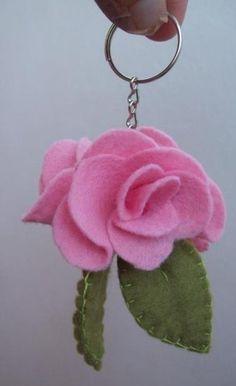 pink Felt Keychain