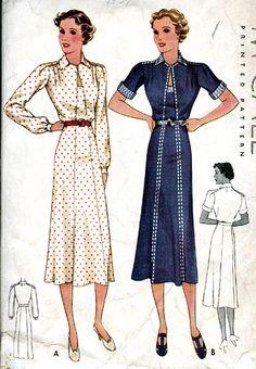 McCall 9222   1937 Ladies' & Misses' Dress