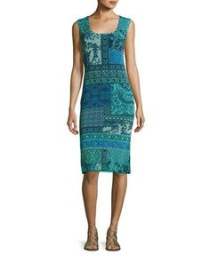 Sleeveless Lace Mosaic-Print Sheath Dress, Turquoise