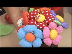 Como hacer Flores de cinta y tela programa 2 (Flor gordita). 5/5 - YouTube