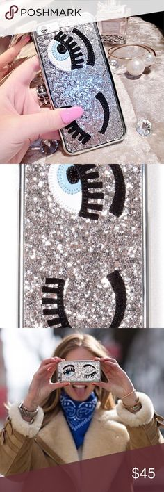 Chiara Ferragni silver glitter winking eye case 1 available. For iPhone 5/5S. Silver glitter winking eye phone case with the lashes and eye part made from a velvet like material. Never used! Mint condition and so chic! ALL CASES IN SHOP inspired by CF Chiara Ferragni Accessories Phone Cases