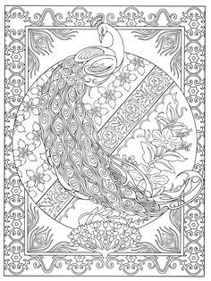 Creative Haven Peacock Designs Coloring Book (Creative Haven Coloring Books): Marty Noble, Creative Haven Coloring Pages For Grown Ups, Adult Coloring Book Pages, Printable Coloring Pages, Colouring Pages, Free Coloring, Coloring Sheets, Colorful Drawings, Colorful Pictures, Creative Haven Coloring Books