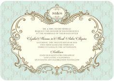 Lavishly Elegant - Signature White Wedding Invitations - Elum - Aloe - Green : Front