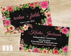 Rodan+Fields Business Cards, Modern Black Floral Business cards for R+F small business direct marketing kit, branding for rodan and fields consultants, best modern floral design business card by MulliganDesign via Etsy