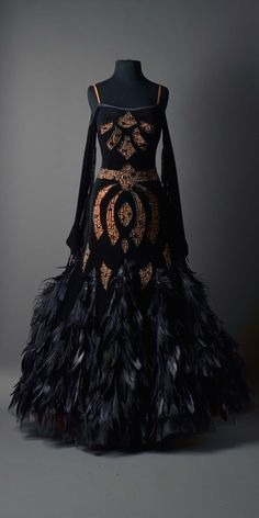 BLACK VELVET SMOOTH WITH BODICE CUT OUTS, STONEWORK, AND FEATHERED SKIRT – DORÉ DESIGNS