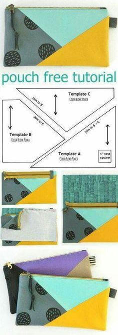 Tendance Sac 2018 : Tendance Sac 2018 : Color Block Pouch Free Tutorial DIY www.free-tutorial Tendance Sac 2018 : Tendance Sac 2018 : Color Block Pouch Free Tutorial DIY www.plenty of pretty pouch patternsPieced zip pouch- I want this in a larger siz Sewing Hacks, Sewing Tutorials, Sewing Tips, Free Tutorials, Bags Sewing, Tutorial Sewing, Pattern Sewing, Sewing Patterns Bags, Sewing Ideas