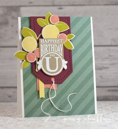 Happiest Birthday To U Card by Amy Sheffer for Papertrey Ink (August 2015)