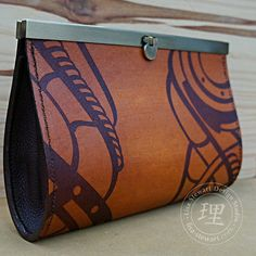 Leather Steampunk Clutch- Light Brown Exterior Deep Brown Suede Interior