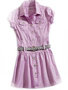 GUESS Kids Girls Big Girl Belted Shimmer Dress (7-16), LILAC (14) GUESS Kids