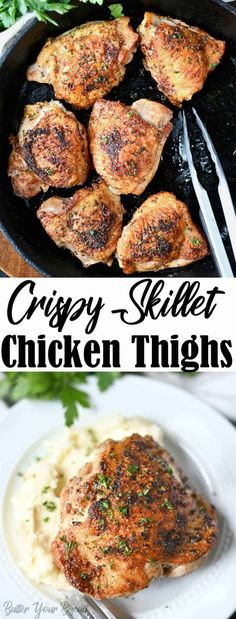 Crispy Skillet Chicken Thighs are seasoned with simple pantry ingredients. Crispy on the outside, tender and juicy on the inside. Turkey Recipes, Veggie Recipes, Vegetarian Recipes, Healthy Recipes, Pizza Recipes, Rice Recipes, Recipies, Easy Chicken Thigh Recipes, Chicken Recipes