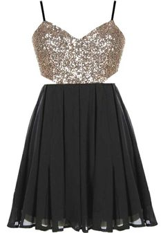 Dance Floor Dress | Gold Black Sequin Backless Party Dresses | Rickety Rack