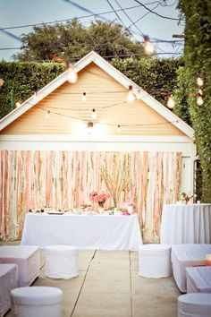 """Awesome Backdrop Idea!!! Definitely an awesome idea on how to """"dress up"""" even the most informal places--such as the garage door/carport/driveway! Makes you feel even better ab saving money bc you CAN make the most inexpensive & informal of venues actually look expensive and fancy & all! ;D"""