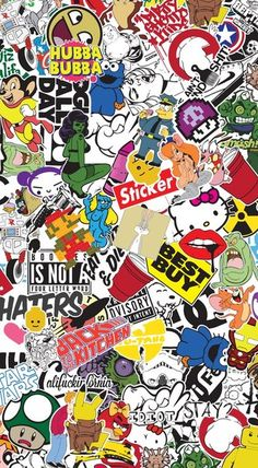 sticker-bombing - Поиск в Google Más Iphone 5s Wallpaper, Cool Wallpaper, Wallpaper Backgrounds, Phone Wallpapers, Graffiti Wallpaper, Cartoon Wallpaper, Graffiti Art, Doodle Art Drawing, Art Drawings