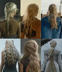 Daenerys' hair evolution by her conquests Game of Thrones in hair cutting and styling games online - Hair Cutting Style Pretty Hairstyles, Braided Hairstyles, Fantasy Hairstyles, Viking Hairstyles, Hairstyles Videos, Wedding Hairstyles, Khaleesi Hair, Hair Evolution, Long Hairstyles