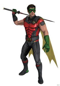"Oddly enough, here he looks more ""Robin"" than the original costume, he has the colors and all. Batman Arkham Knight Robin, Batman And Superman, Batman Robin, Robin Cosplay, Robin Costume, Robin Outfit, Heavy Metal Comic, Robin Photos, Jason Todd Batman"