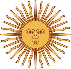 Vector illustration of Sun of May in the flag of Argentina. Drawing of one of the national emblems of Argentina. Art Soleil, Public Domain Clip Art, Argentina Flag, Inca Empire, Sun Art, Thinking Day, Custom Posters, Graphic Design Art, Graphic Patterns