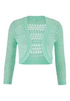 This mint will be the go-to cropped cardi with mixed open stitching