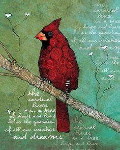 The Guardian of Dreams / Cardinal / original illustration ART Print SIGNED / 8 x… Zantangle Art, Cardinal Birds, Cardinal Meaning, Bird Prints, Animal Prints, Bird Art, The Guardian, Cardinals, Art Journals