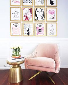 This pink velvet armchair and fashion gallery wall art adds instant glamour to any space
