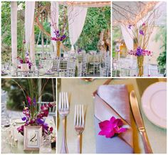 Branches wedding decor and purple flowers with gold flatware // Found on Modern Jewish Wedding Blog // Photographer: LindseyK Photography