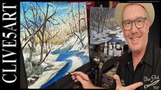 Winter River, Acrylic painting for beginners, #clive5art