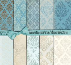 BlueWallpaper Digital Papers  12 x 12 sheets damask  Decoupage,  texture papers 10 scrapbooking papers  to Download (29)