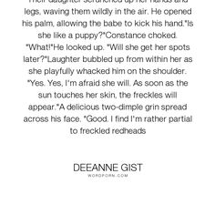 "Deeanne Gist - ""Their daughter scrunched up her hands and legs, waving them wildly in the air. He..."". inspirational, romance, christian, historical-romance, historical, inspirational-romance, bride, brides, a-bride-most-begrudging, christian-romance, connie, constance, constance-morrow, deeanne-gist, drew, drew-o-conner"