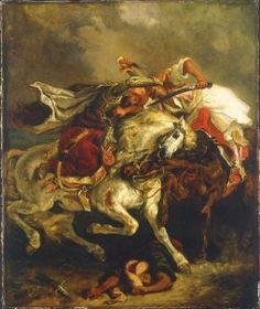 Combat between the Giaour and the Pasha - Eugene Delacroix.  1835.  Oil on canvas.  73 x 61 cm.  Musee du Petit Palais, Paris, France.