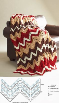 Get into the autumn groove with this beautiful crochet afghan pattern. The Fall Zig Zag Afghan Pattern is as cozy as it looks. Warm tones make it the best blanket for cuddle on a brisk, fall day. Love Crochet, Double Crochet, Crochet Baby, Knit Crochet, Modern Crochet, Afghan Crochet Patterns, Crochet Stitches, Knitting Patterns, Chevron Crochet Blanket Pattern