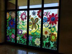 Window Murals - Miss Frey's Art Class Classroom Window, Window Decorating, Window Mural, Room Set, Flower Crafts, Murals, Art Pieces, Craft Ideas, Windows