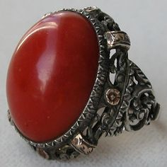 Vintage Gold and Silver Coral Ring
