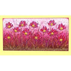 """Quadri Floreali """"Campo di fiori in fucsia"""" Materico acrilico su tela a cassetto Dim. 50x100."""