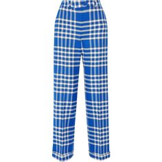 Jacquemus Plaid woven straight-leg pants (€130) ❤ liked on Polyvore featuring pants, bottoms, trousers, jacquemus, jeans, bright blue, bright blue pants, checkerboard pants, checked pants and straight leg pants