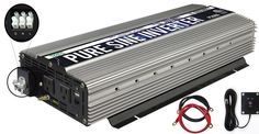Power TechON Pure Sine Wave Inverter with Black and Red Cables, Remote Switch and 3 Output Sockets (3000W/6000W w/ Hardwire Terminal)
