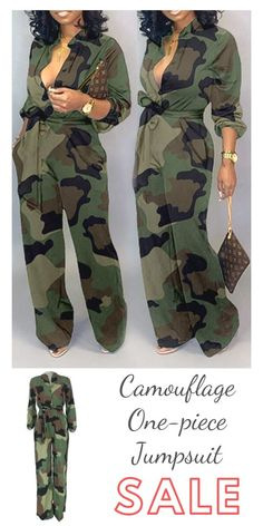 Lovely Casual Camouflage Printed Army Green One-piece Jumpsu.- Lovely Casual Camouflage Printed Army Green One-piece Jumpsuit - # yara shahidi fulani Braids Camo Fashion, Love Fashion, Plus Size Fashion, Autumn Fashion, Womens Fashion, Rihanna Fashion, 80s Fashion, Fashion Killa, Unique Fashion